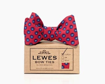 Red cotton and navy blue self tie bow tie, Men's deep red and blue self tie bow tie, wedding present bow tie, red an blue self tie bow tie
