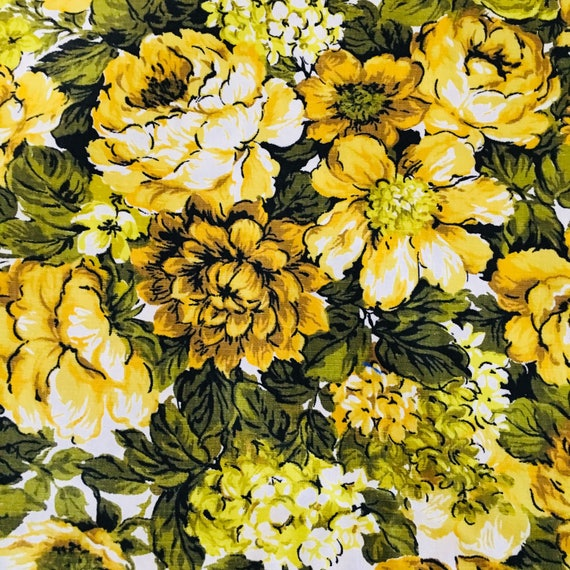 Vintage Yellow Floral Avocado Green Rose Flower Decor Weight Cotton Yardage