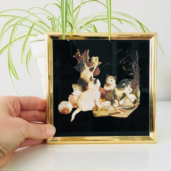 Vintage Cat Kafta Industries Wall Art 80s Etched Metallic Foil Lithograph Gold Framed Still Life Kittens Wall Decor #1778