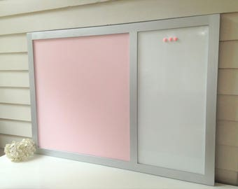 Magnetic Dry Erase Whiteboard Message Center - 26.5 x 38.5 Bulletin Board Handmade Hardwood Silver Frame YOU CHOOSE COLORS and Pink Fabric