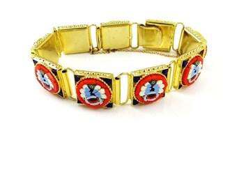 Micro Mosaic Bracelet, Glass Tiles, Italian Millefiori Jewelry, Gold Flower Bracelet, 1940s Vintage Jewelry