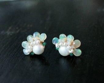 Genuine opal cluster stud earrings