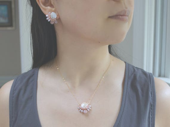 Gemstone jewelry set - pink moonstone and freshwater pearl
