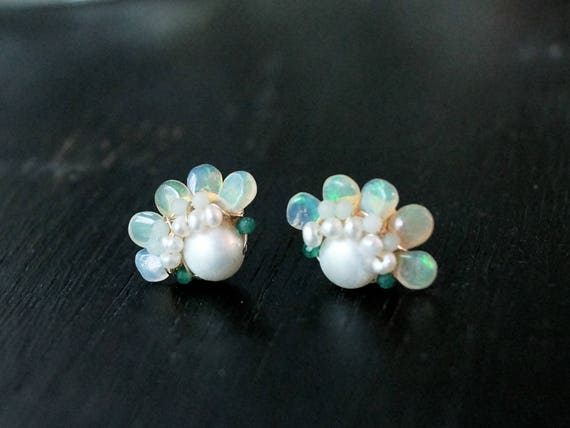 Genuine opal cluster stud earrings