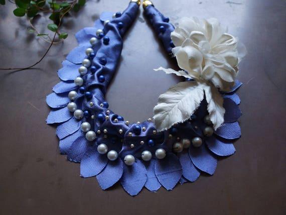 Silk fiber necklace - royal blue necklace