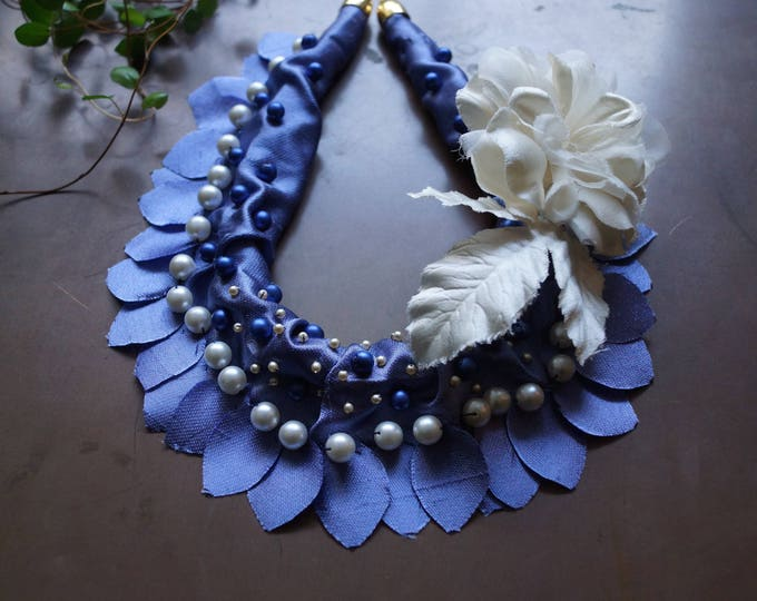 Featured listing image: Silk fiber necklace - royal blue necklace