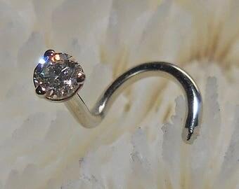 CANADIAN DIAMOND, 2.3mm, 14KW, diamond nose jewelry, diamond, nose jewelry, gold nose jewelry, nose stud, nose ring, nose screw,
