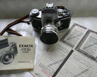 CAMERA, EXAKTA VX IIa, 35mm Ihagee Dresden Camera, Instruction Manual, Import Certificate, Zeiss Jena Lens