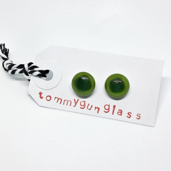Moss Green Glass Stud Earrings