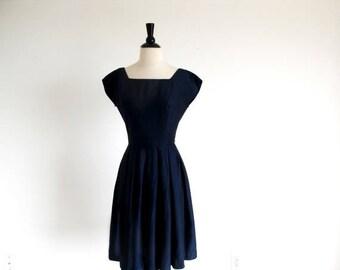 1/2 Off SALE Vintage 50s Navy Blue Dress, Full Skirt Dress, 1950 Rockabilly Dress, Nipped Waist Swing Dress