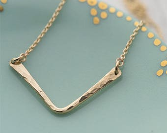 Gold Filled Chevron Necklace for Women, Gift for Her, Gift for Women, Hammered Gold Fill Necklace Jewelry Burnish