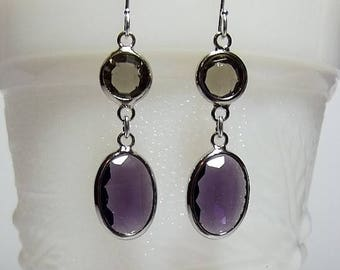 40% OFF SALE thru Tues Amethyst Purple and Gray Drop Earrings, Bridesmaid Valentines Mothers Day Gift, Mom Jewelry, Silver Earrings, Modern