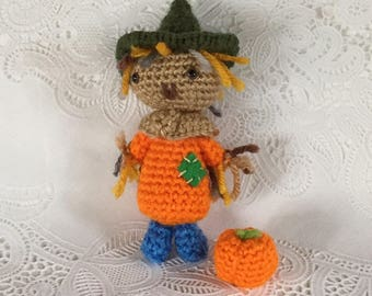 Mini Scarecrow - Scarecrow Doll -  Fall Decor - Handmade Doll - Pumpkin