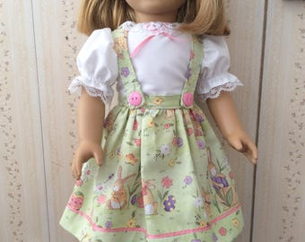 Vintage styled Easter Dress and Hairbow - sized for American Girl or similar doll