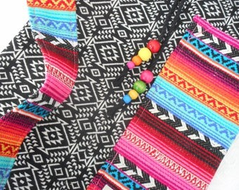 Yoga mat bag - Mexican Woven fabrics - ONYX INCA PATTERN - includes pocket & beaded drawstring - roomy, easy to use, stunning fabric.