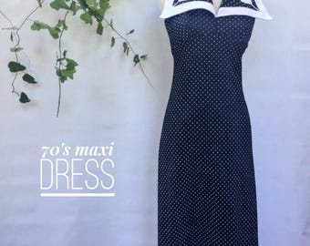 Vintage 70s navy and white dotted maxi halter dress - 1970s floor length tulip summer dress - medium