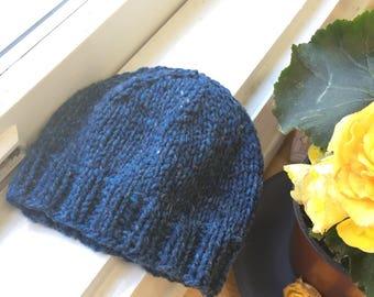 Blue Newborn Hat, Blue Hat, Hospital Hat, Going Home Hat, Newborn Baby Boy Hat, Handknit Blue Tweed 100% American Wool, Knit Hat, Photo Prop
