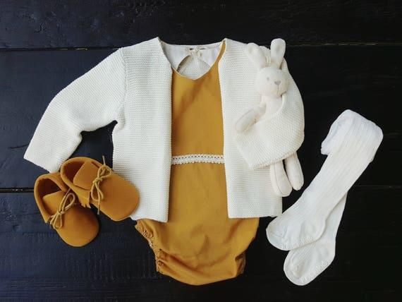 Mustard Yellow Organic Cotton Emily Baby Romper