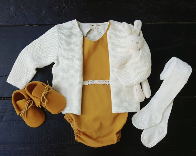 Featured listing image: Organic Cotton Emily Romper in Marigold