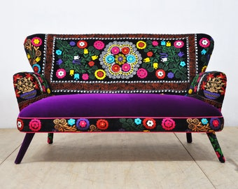 Suzani 2-seater sofa - purple love