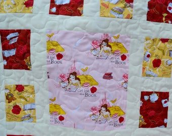 NEW - Baby or Toddler quilt -Beauty and the Beast - Disney