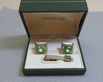 Peridot Green Glass Cuff Links Set, Dante' Rhinestone CuffLinks Set,   Mint in Box