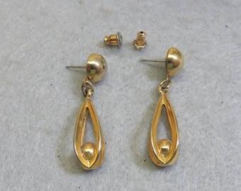 Classic Golden Caged Ball Pierced  Earrings, 1970s Pierced Earrings