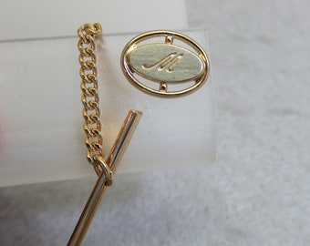 Vintage Initial M or W Tie Tack Pin, Silver and Gold Letter M or W Tie Tack