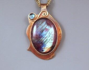 Labradorite & Blue Topaz- Spectrolite- Abstract Design- Metal Art Pendant- One of a Kind- Labradorite Necklace