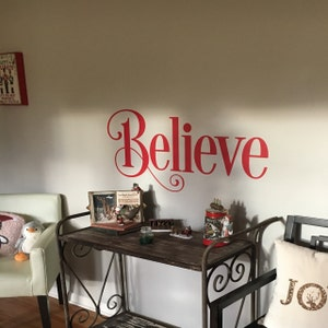 Believe Christmas Vinyl Wall Decal Mantle Christmas Decor