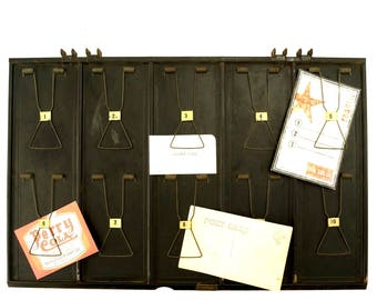 Vintage Industrial Metal Receipt Holder with Numbered Spring Clips, Double-Sided #1-10, A-M (c.1920s) - Photo Holder, Inspiration Memo Board