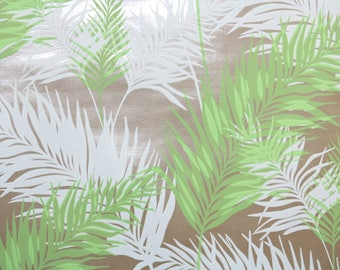 Retro Wallpaper by the Yard 70s Vintage Wallpaper - 1970s Mylar White and Green Fern Fronds on Brown Leafy Botanical