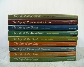 Our Living World Of Nature 9 Books The Life of the Ocean; Prairies/Plains; Seashore; Pond; Cave; Mountains; Desert; Marsh; Rivers & Streams