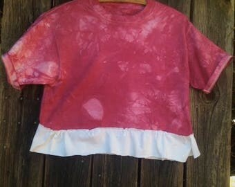 hand dyed raspberry summer hip hippie groovy haight gypsy boho shabby mori girl summer of love tee shirt