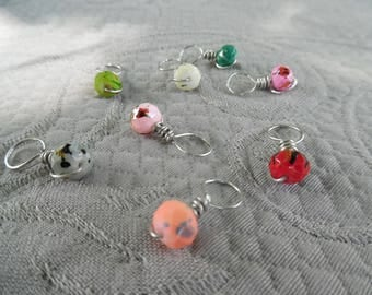 "Stitchmarkers for knitting, set of 8 ""splash"", up to 6.5 mm needles"