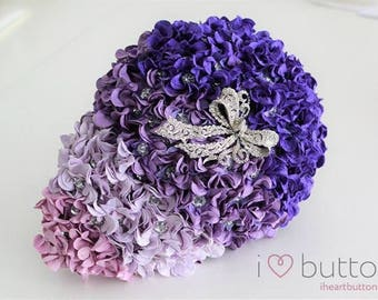 Purple Ombre Teardrop Flower and Brooch Bouquet - Ready Made