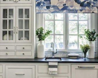 Faux Roman Shade Lined Mock Valance Robert Allen @ Home Aptura Floral  Indigo Custom Sizing Available