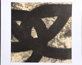 "Art Print . Black white + tan Home Decor. Trace 2. Print Size 8"" x 8"" . unframed ."