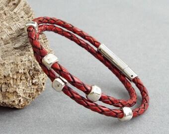 Womens Bracelet, Beaded Leather Bracelet, Girlfriend Gift, Gift for Her, Braided Leather, Leather Jewelry