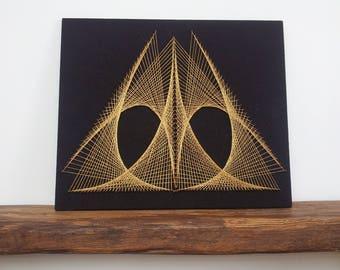 Vintage String Art Geometric Pyramid