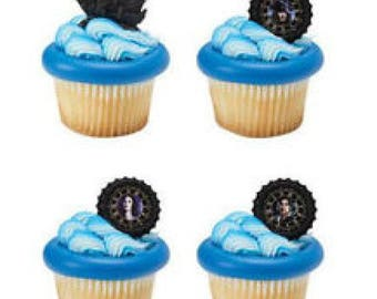 12 Shimmer Happy Birthday Cupcake Cake Rings Party Favors Toppers