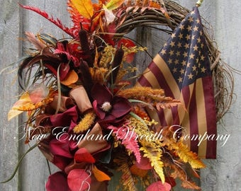 ON SALE Patriotic Wreath, Americana Wreath, Elegant Fall Wreath, Woodland Patriotic Wreath, Tea Stained Flag
