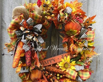 ON SALE Fall Wreath, Autumn Wreath, Whimsical Fall, Pumpkin Wreath, Halloween Wreath, Designer Fall, Harvest Wreath