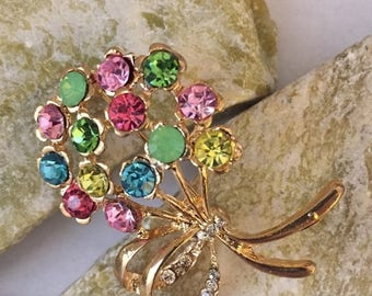 """Great Sale Happy Birthday Brooch Multicolored Bouquet 1 1/2"""" x 1 1/4"""" Finishes an Outfit Tote Purse Hat Scarf or Bridal Bouquet"""