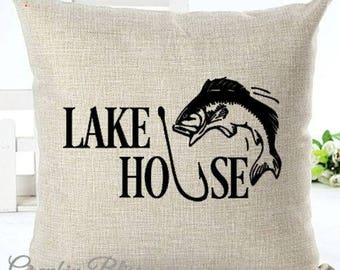 Lake House Bass Fishing Decor Pillow Cover Decorative Throw Pillow Case Cover