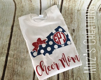 Cheer Mom Shirt | Monogrammed | Megaphone with Bow - Fully Customizable