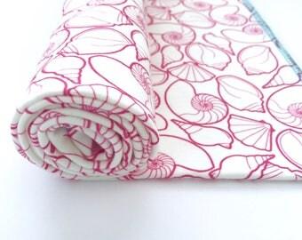 Organic Cotton Swaddle Blanket, Pink Newborn Baby Blanket and Hat, Eco Nursing Cover, Seashells Blanket, Beach Baby Shower Gift for Girl