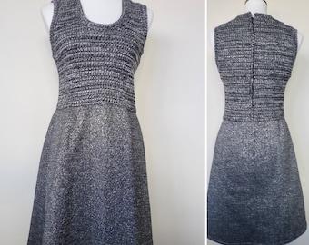 70s Silver Metallic Knit Sleeveless Secretary Dress by Caron/Vintage Sweater Dress