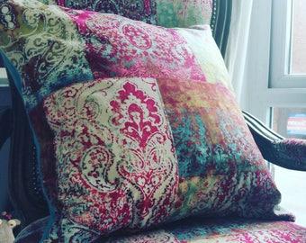 Velvet patchwork pink damask 22 in cushion cover