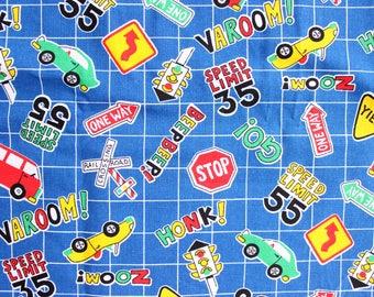 Adorable Cars and Street Sign Fabric on Blue Grid . Children's Fabric Kindergarten . Stop Sign Railroad Crossing Speed Limit Little Boys